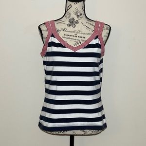 Talbots Tank Blue Stripped Size Medium